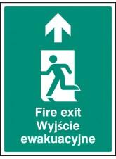 Fire Exit Arrow - Up / Straight on (English/polish)