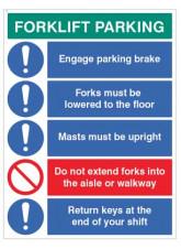 Forklift Parking Engage Brakes - Lower Forks - Return Keys