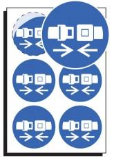 6 x Seatbelt Symbol Labels - 65mm Diameter