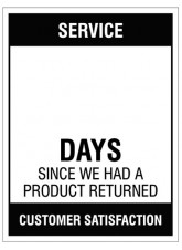 """Large Wipe Clean Board """"Service (Write Number) Days since a Product Return"""""""