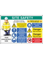 Site Safety - Multi-message - Deep Excavations - Custom - Banner with Eyelets - 1270 x 810mm