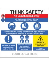 Site Safety Board - Multi-message - Underground Services - Site Saver Sign 1220 x 1220mm