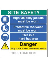 Site Safety Board - Hivis - Footwear - Hard Hat - Trucks - Site Saver Sign 1220 x 1220mm
