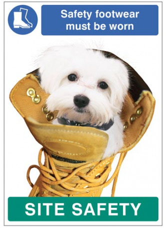 Safety footwear must be worn - dog poster 420x594mm synthetic paper