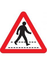 Pedestrians Crossing Ahead - Class R2 Permanent - 600mm Triangle