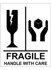 250 x Fragile Handle with Care Labels - 75 x 100mm