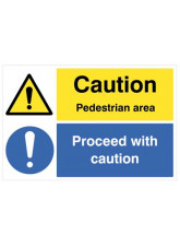 Floor Graphic - Caution Pedestrian Area Proceed with Caution