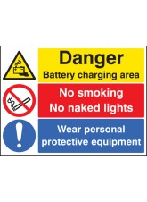 Battery Charging Area - Wear PPE - No Smoking - No Naked Lights