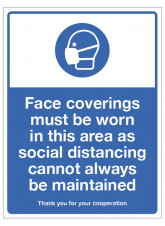 Face Coverings must be Worn as Social Distancing cannot always be Maintained